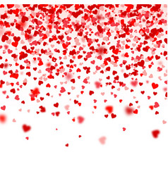 valentines day falling red blurred hearts on white vector image
