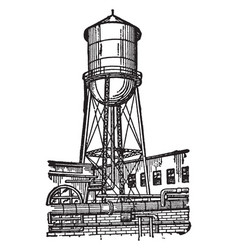 Water tower vintage vector