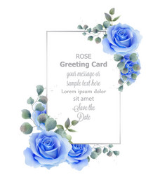 watercolor blue rose flower card vintage vector image