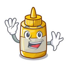 waving character bottle style mustard sauce yummy vector image