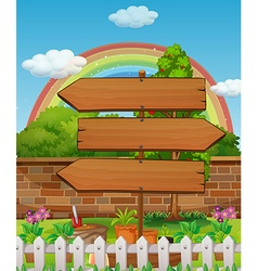 Wooden signs in the park vector image