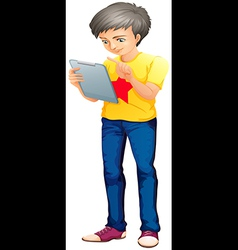 A boy using a touch screen gadget vector image