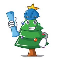 Architect christmas tree character cartoon vector
