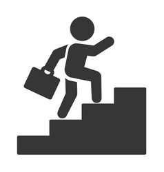 businessman with case walk up stairs icon vector image