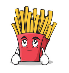 eye roll french fries cartoon character vector image