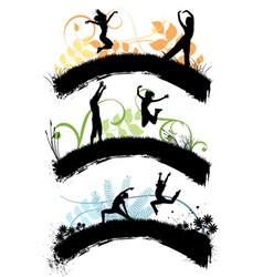 jumping people vector image vector image