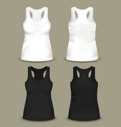 set of isolated woman sleeveless top or t-shirts vector image
