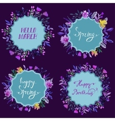 Set of watercolor floral frames Floral vector image
