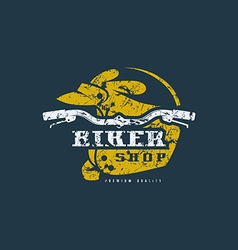 Biker shop badge with shabby texture vector image vector image