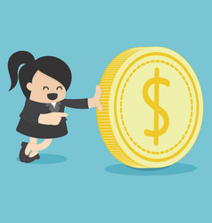 businesswoman and money coin vector image