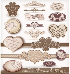 decorative elements on valentines day vector image vector image