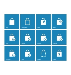 Shopping bag icons on blue background vector image vector image
