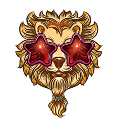 stylish lion with beard in sunglasses vector image