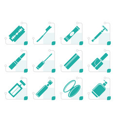 stylized make-up icon set vector image