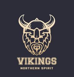 vikings logo bearded warrior in horned helmet vector image