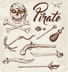 Weapons of pirates vector