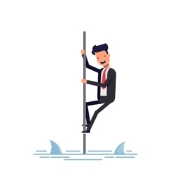 businessman or manager saved from sharks climbing vector image