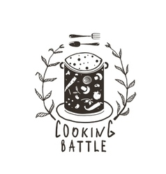 Cooking Battle Sign with Laurel and Label vector image vector image