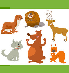 funny wild animal characters set vector image vector image