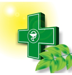 Green medical cross emblem vector image