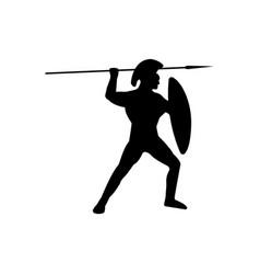 legionnaire warrior silhouette on white background vector image vector image