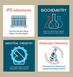 molecular and industrial chemistry cards set vector image vector image