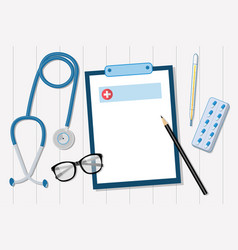 stethoscope on a white table of the doctors vector image