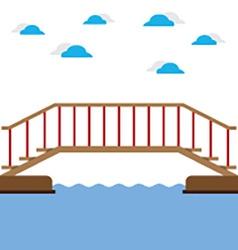 Wooden Bridge Over The River vector image