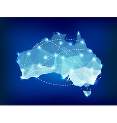 Australia country map polygonal with spot lights vector image vector image