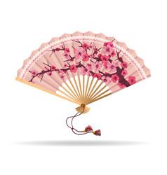 japan cherry blossom folding fan vector image