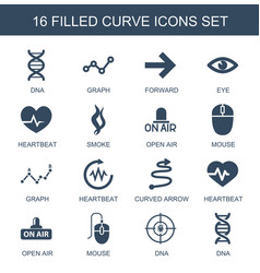 16 curve icons vector