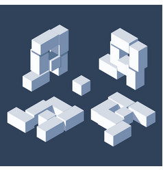 3d blocks letter a different isometric views with vector image