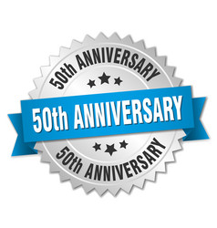 50th anniversary round isolated silver badge vector image