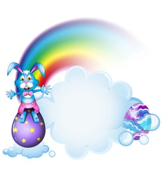 A bunny above the egg near the rainbow vector image vector image