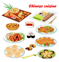 A set of chinese dishes with soup peking style vector