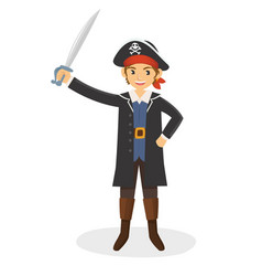 a young pirate with his sword vector image