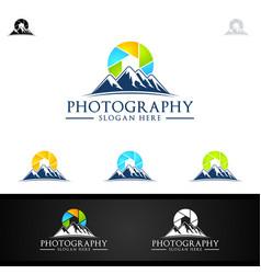 Abstract mountain camera photography logo icon vec vector