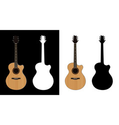 acoustic guitar and silhouettes on vector image