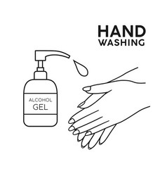 alcohol ge hand washing symbol black and white vector image