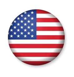 American united states flag in glossy round button vector