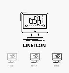 animation computer editor monitor software icon vector image