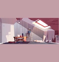 Attic repair renovation of garret loft vector