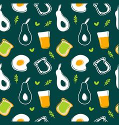 avocadofried eggtoast and juice seamless pattern vector image