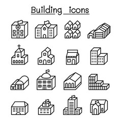 basic building in 3 dimension icon set thin line vector image