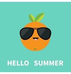 Big orange citrus fruit with leaf wearing vector image