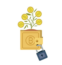 bitcoin wallet growing with secure padlock vector image