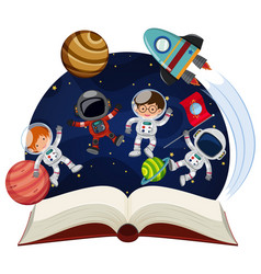 Book about astronomy with astronauts and planets vector