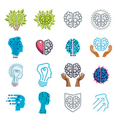 Brain and intelligence icons or logos concepts vector