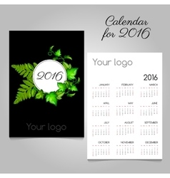 Calendar with green leaves and space for your logo vector
