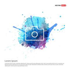 Camera icon - watercolor background vector